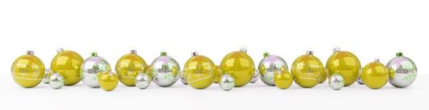 O ouro e as quinquilharias do White Christmas alinharam a rendição 3D ilustração stock