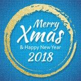 2018, o ouro e o cartão azul com Feliz Natal text e brilham quadro Fundo efervescente do feriado, beira da poeira do vetor ilustração do vetor