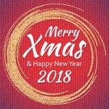 2018, o ouro e o cartão branco com Feliz Natal text ilustração stock