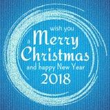 2018, o ouro e o cartão branco com Feliz Natal text e brilham quadro Fundo efervescente do feriado, beira da poeira do vetor ilustração do vetor