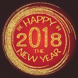 2018, o ouro e o cartão preto com Feliz Natal text e brilham quadro Fundo efervescente do feriado, beira da poeira do vetor Fotografia de Stock