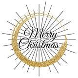 2018, o ouro e o cartão preto com Feliz Natal text e brilham quadro Fundo efervescente do feriado, beira da poeira do vetor ilustração stock