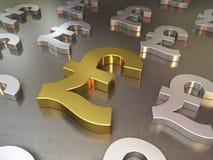 O ouro e a prata metal o assoalho de sinais da libra Imagem de Stock Royalty Free