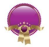 O ouro e roxos esvaziam a etiqueta/emblema Fotografia de Stock Royalty Free
