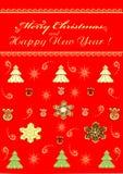 O ouro festivo do Feliz Natal do cumprimento ornaments o illustr ilustração royalty free