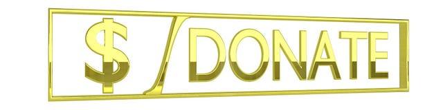 O ouro lustroso doa o ícone - isolado no branco - 3D rende Fotos de Stock Royalty Free