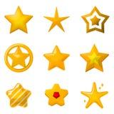 O ouro lustroso protagoniza no estilo dos desenhos animados Ícones ajustados para projetos de design do jogo ilustração do vetor
