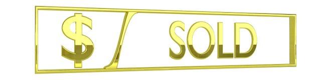 O ouro lustroso vendeu o ícone - isolado no branco - 3D rende Imagem de Stock Royalty Free