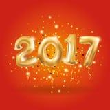 O ouro metálico do ano novo feliz Balloons o preto Fotos de Stock