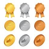 O ouro, a prata e o bronze concedem medalhas com cenografia do vetor do sinal do diamante e da coroa ilustração royalty free