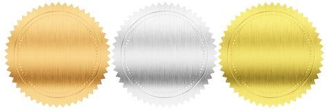 O ouro, a prata e os selos ou as medalhas do bronze ajustaram-se isolado Fotos de Stock