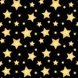 O ouro stars em um vetor sem emenda do teste padrão preto do fundo Fotografia de Stock