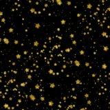 O ouro Stars o fundo metálico do preto da estrela da folha do falso Imagens de Stock