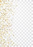 O ouro stars o quadro de queda dos confetes isolado no fundo transparente Natal abstrato dourado do teste padrão, ano novo Foto de Stock Royalty Free