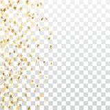 O ouro stars o quadro de queda dos confetes isolado no fundo transparente Natal abstrato dourado do teste padrão, ano novo Fotografia de Stock Royalty Free