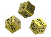 O ouro três corta com sinais do dinheiro Fotografia de Stock Royalty Free