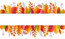 O outono brilhante das cores da queda deixa linhas fundo da bandeira isoladas no branco ilustração do vetor