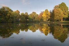 O outono coloriu as árvores que refletem no lago do parque que dá o cenário bonito Foto de Stock