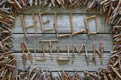 O outono da inscrição olá! com as varas de madeira no fundo de madeira Imagens de Stock Royalty Free