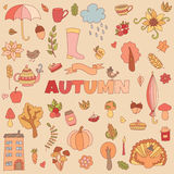 O outono do vetor rabisca o cartão Tração da mão thanksgiving Fotografia de Stock Royalty Free