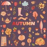 O outono do vetor rabisca o cartão Tração da mão thanksgiving Imagem de Stock