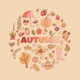 O outono do vetor rabisca o cartão Tração da mão thanksgiving Fotos de Stock