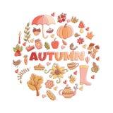 O outono do vetor rabisca o cartão Tração da mão thanksgiving Foto de Stock