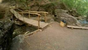 O outono, noite, luz natural, turista olha a cachoeira, video estoque