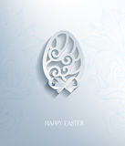 O ovo cortou o papel com sombra, efeito 3d Fotografia de Stock Royalty Free