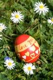 O ovo da páscoa vermelho que encontra-se no springflower cobriu o prado fotografia de stock royalty free