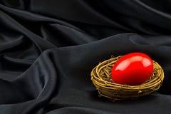 O ovo de ninho vermelho no fundo preto do cetim reflete a necessidade para forte Fotografia de Stock Royalty Free
