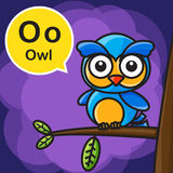 O Owl color cartoon and alphabet for children to learning vector Royalty Free Stock Photography