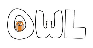 O is for owl - vector illustration with funny staring owl. Sitting on hand drawn doodle word. Cute, cartoon symbol of wisdom draft for learning words and school Royalty Free Stock Photography