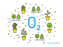 O2 oxygen linear vector illustration Royalty Free Stock Images