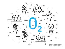 O2 oxygen linear vector illustration with house plants Royalty Free Stock Photos
