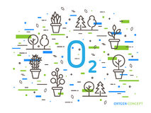 O2 oxygen linear vector illustration with house plants stock illustration