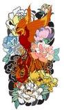 O pássaro do fogo de Phoenix com flor da peônia e aumentou no fundo da nuvem e da onda Estilo japonês tirado mão da tatuagem Pho  Foto de Stock Royalty Free
