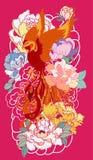 O pássaro do fogo de Phoenix com flor da peônia e aumentou no fundo da nuvem e da onda Estilo japonês tirado mão da tatuagem Pho  Imagens de Stock