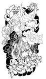 O pássaro do fogo de Phoenix com flor da peônia e aumentou no fundo da nuvem e da onda Estilo japonês tirado mão da tatuagem Pho  Imagens de Stock Royalty Free
