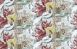 O pássaro dos cervos brinca da pintura sem emenda cor-de-rosa azul do teste padrão do ano novo do Natal vetor textured ilustração stock