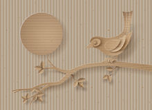 O pássaro empoleirou-se em um ramo de uma árvore ilustração stock