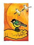 O pássaro na mão vale dois no arbusto O Titmouse senta-se na palma de um homem Os guindastes voam através de um disco solar contr ilustração do vetor
