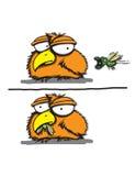 O pássaro pequeno come um erro assustador Fotografia de Stock Royalty Free