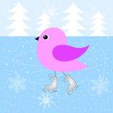 O pássaro que patina no gelo ilustração do vetor
