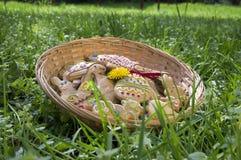 O pão-de-espécie de Checo easter na cesta de vime no jardim com os dentes-de-leão de florescência amarelos floresce Imagens de Stock