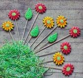 O pão-de-espécie floresce com grama de papel no fundo de madeira rústico Foto de Stock Royalty Free