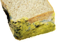 O pão expirou no fundo branco Foto de Stock