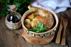 O pé de galinha cozeu com batatas, cenouras, aipo e cebolas Imagens de Stock