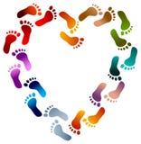 O pé imprime o coração ilustração do vetor