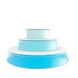 O pódio lustroso azul de três etapas isolou-se Imagem de Stock Royalty Free